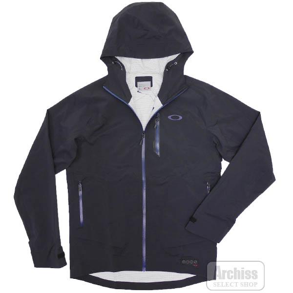 オークリー Oakley ソフトシェル ジャケット 黒 ブルーアクセント Oマーク フード付き Viabillty Tech Jacket Lサイズ メンズ 412019JP-01K-Jet BlackS55404-05