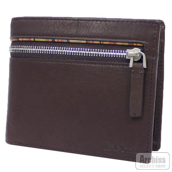 ポールスミス Paul Smith 2折財布 二つ折り 二つ折財布 焦茶 チョコ ブラウン マルチストライプ ライン ジップ シグネチャー メンズ 紳士 PSU814-71S63759