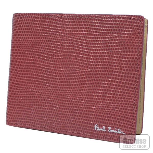 ポールスミス Paul Smith 2折財布 二つ折り 二つ折財布 レッド 赤 リザード 型押し レザー 内側 ベージュ メンズ 紳士 PSU095-24S63763-64