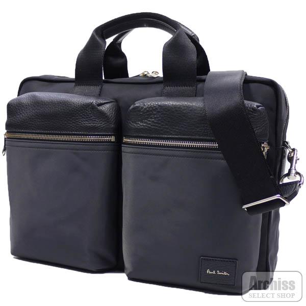 ポールスミス Paul Smith ビジネスバッグ ブリーフケース ブラック 黒 レザー ナイロン カラー ブロック 2ポケット 2WAY B4対応 メンズ 紳士 PSN504-10S63982