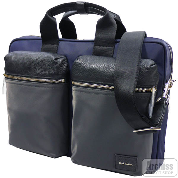 ポールスミス Paul Smith ビジネスバッグ ブリーフケース 紺 グレー 黒 レザー ナイロン カラー ブロック 2ポケット 3WAY B4対応 メンズ 紳士 PSN505-30S63984