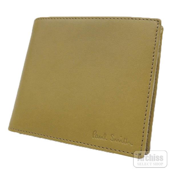 ポールスミス Paul Smith 2折財布 二つ折り 二つ折財布 カーキ マスタード スペイン製 メンズ 紳士 PSF216-40S42708