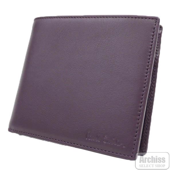ポールスミス Paul Smith 2折財布 二つ折り 二つ折財布 パープル プラム スペイン製 メンズ 紳士 PSF216-34S51203