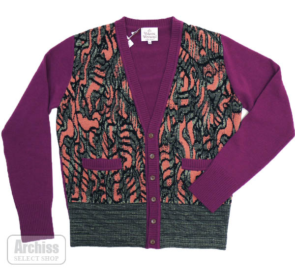 ヴィヴィアンウエストウッド Vivienne Westwood カーディガン 濃い パープル アラベスク 模様 ニット イタリア製 Mサイズ メンズ 紳士 6153-739S30701