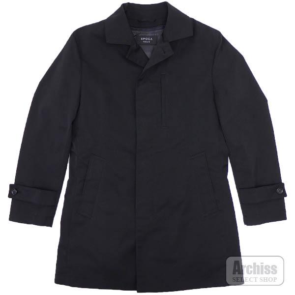 エポカウォモ EPOCA UOMO ステンカラー コート メンズ 黒 綾織生地 着脱 可能 ライナー付き 48サイズ M1C70-510-09S56304