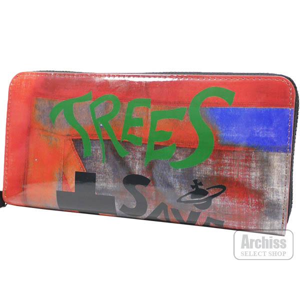 【アウトレット品】ヴィヴィアンウエストウッド Vivienne Westwood 長財布 ラウンドジップ ラウンドファスナー レッド 赤系 エナメル TREES SAVE LIVES シリーズ 訳あり レディース 婦人 3118AJ11-RDS64011-18