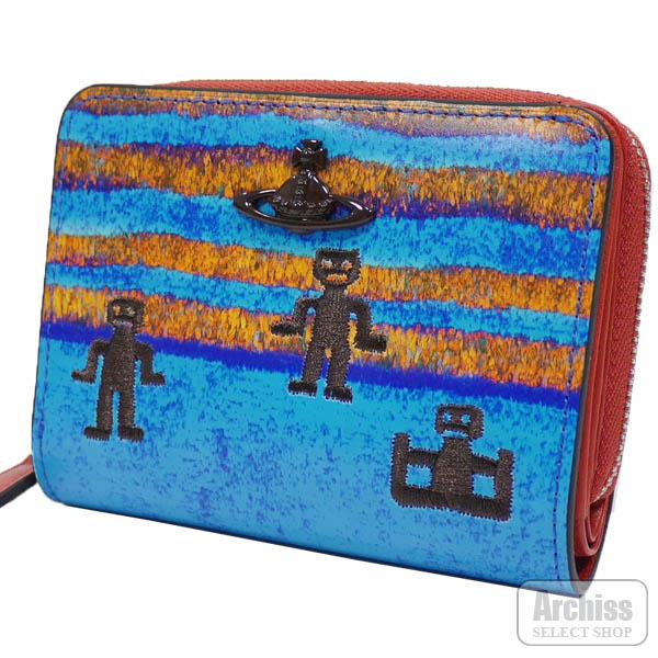 【アウトレット品】ヴィヴィアンウエストウッド Vivienne Westwood 2折財布 二つ折り 二つ折財布 ブルー オレンジ ボーダー フェザーマン 刺繍 ラウンドジップ 訳あり レディース 婦人 3318AK32-BLS64125-26