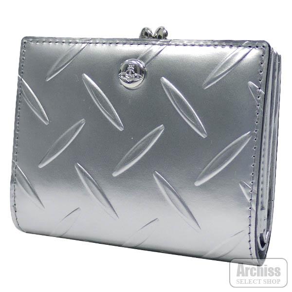 ヴィヴィアンウエストウッド Vivienne Westwood 2折財布 二つ折り 二つ折財布 口金 がま口 付き シルバー メタリック カット&スラッシュ レディース 婦人 3218AU23-SVS64258