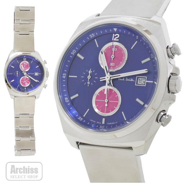 【アウトレット品】ポールスミス Paul Smith 腕時計 紺 ネイビー ピンク NEW FINAL EYES ニュー ファイナル アイズ クロノグラフ メンズ 紳士 訳あり BA2-113-73S52703