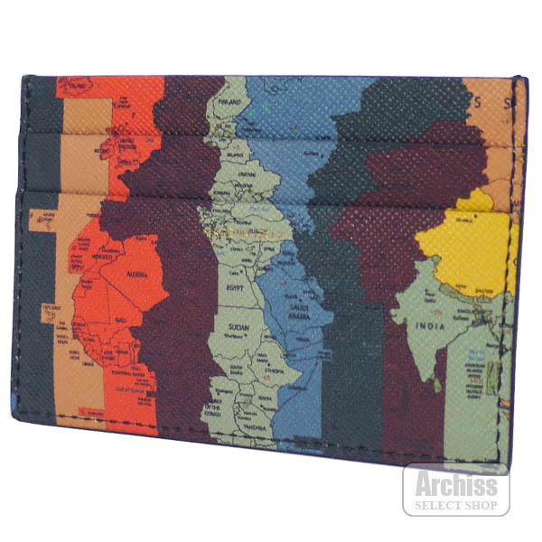 アーティストマルチストライプ世界地図プリントイタリア製カードケース