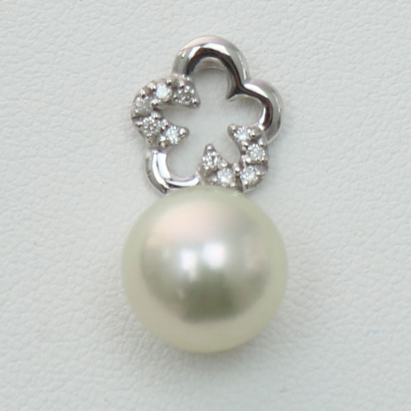 真珠 パール ペンダント 南洋白蝶真珠 パール ペンダント 11mm-12mm ホワイトカラー デザイン ダイヤ