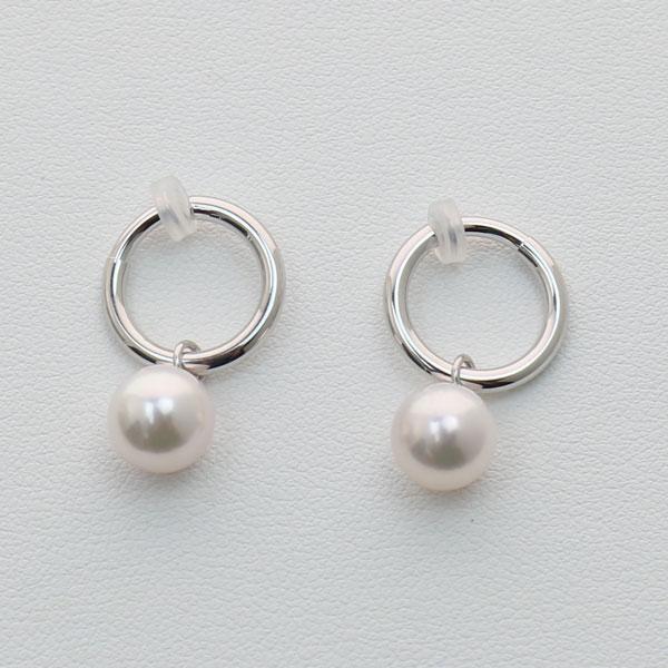 真珠 パール イヤリング あこや真珠 イヤリング アコヤ真珠 8mm-8.5mm ホワイトピンクカラー ホワイトゴールド デザイン 2ウェイ 揺れる
