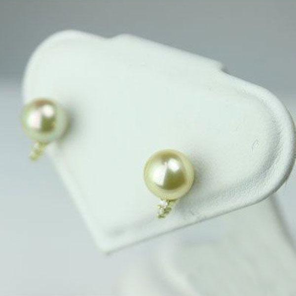 真珠 パール ピアス あこや真珠 パール ピアス 8mm-8.5mm ゴールドカラー デザイン K18 人気 スタッドピアス レディース 通販 送料無料 パール 真珠 ムーンストーン