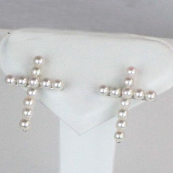 真珠 パール ピアス アコヤ真珠 あこや真珠 3.5mm-4mm ベビーパール K18WG 十字架 ピアス ホワイトピンクカラー パール 真珠 ムーンストーン