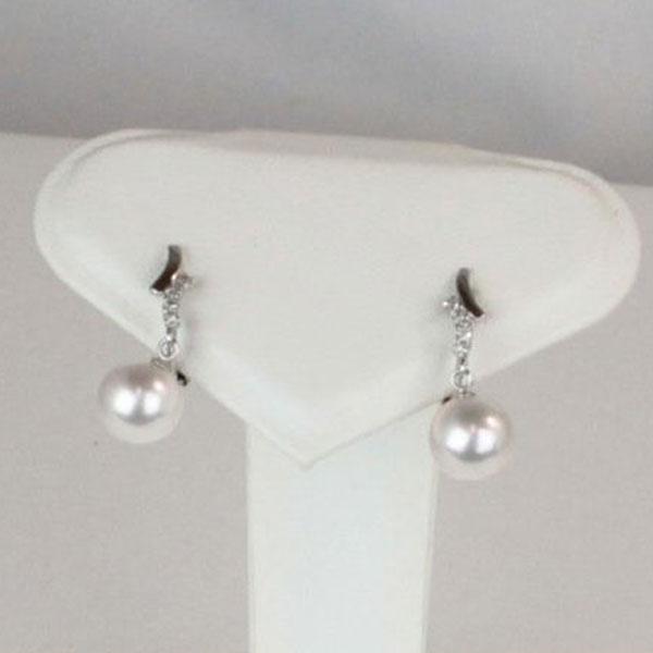 真珠 パール イヤリング アコヤ真珠 イヤリング あこや真珠 8mm-8.5mm ホワイトピンクカラー ホワイトゴールド ダイヤ デザイン ロング 冠婚葬祭 パール 真珠 ムーンストーン