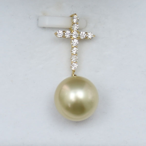 真珠 パール ペンダント 南洋白蝶真珠 ペンダント ナチュラル ゴールドカラー クロス デザイン
