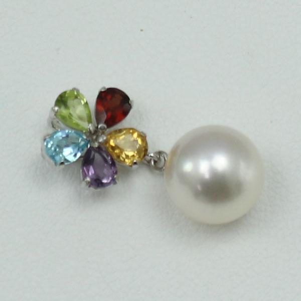 真珠 パール ペンダント あこや真珠 パールペンダント アコヤ本真珠 8mm-8.5mm ホワイトピンクカラー 半貴石 デザイン