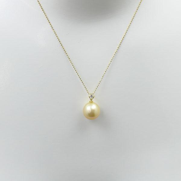 真珠 パール ネックレス 南洋白蝶真珠 パール ネックレス ナチュラルゴールドカラー 12mm k18 ダイヤ
