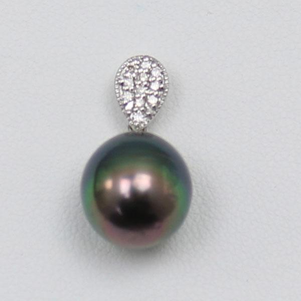 真珠 パール ペンダント 黒蝶真珠 パール ペンダント 11mm 黒真珠 K18WG ダイヤ デザイン ブラックカラー