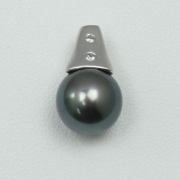 真珠 パール ペンダント 黒蝶真珠 パール ペンダント 10mm-11mm 黒真珠 K18WG ダイヤ デザイン ブラックカラー