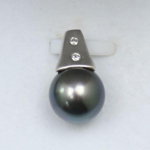 真珠 パール ペンダント 黒蝶真珠 パール ペンダント 10mm 11mm 黒真珠 K18WG ダイヤ デザイン ブラックカラーhotQxrdBsC