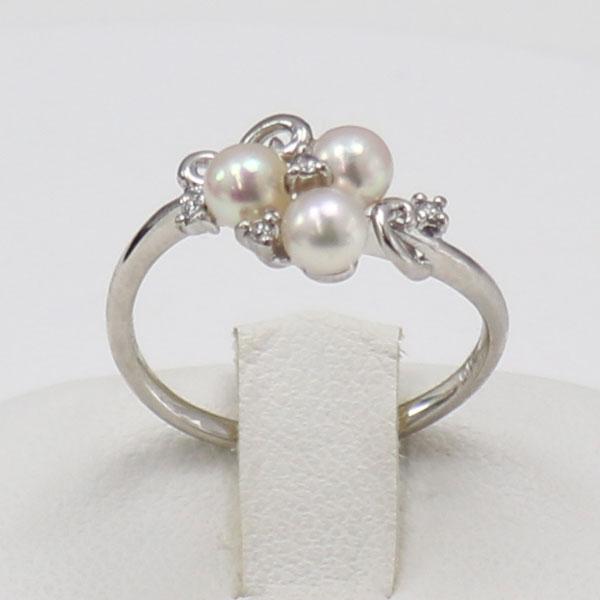 真珠 パール リング 指輪 あこや真珠 パール 指輪 リング デザイン 4mm-4.5mm 3PCS ベビーパール ホワイトピンクカラー K18WG アコヤ本真珠 ダイヤ