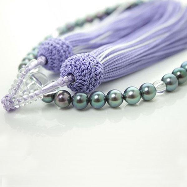 真珠 数珠 パール 念珠 あこや真珠 数珠 6.5mm-7mm ブラックグリーン~ブルーカラー 新色 紫房 アコヤ本真珠 冠婚葬祭 葬儀