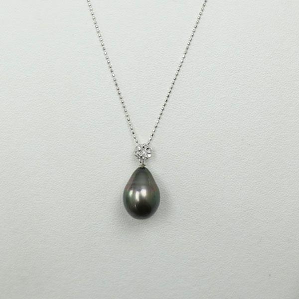 真珠 パール ペンダント 黒蝶真珠 パール ペンダント 11mm-12mm ブラックカラー ブラックパール 黒真珠 デザイン ダイヤ