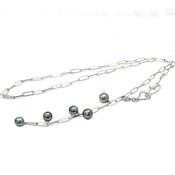 真珠 パール ネックレス 黒蝶真珠 ネックレス 黒真珠 マルチカラー 70cm ロング パール ネックレス デザイン
