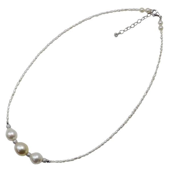 真珠 パール ネックレス 南洋白蝶真珠 パールネックレス ケシパール シルバー デザイン ナチュラルカラー カジュアル