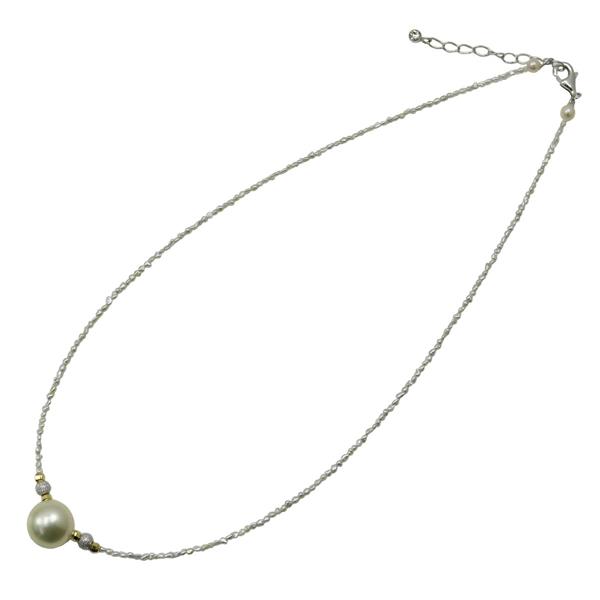真珠 パール ネックレス 南洋白蝶真珠 12mm アコヤケシパール ネックレス ナチュラルカラー デザイン