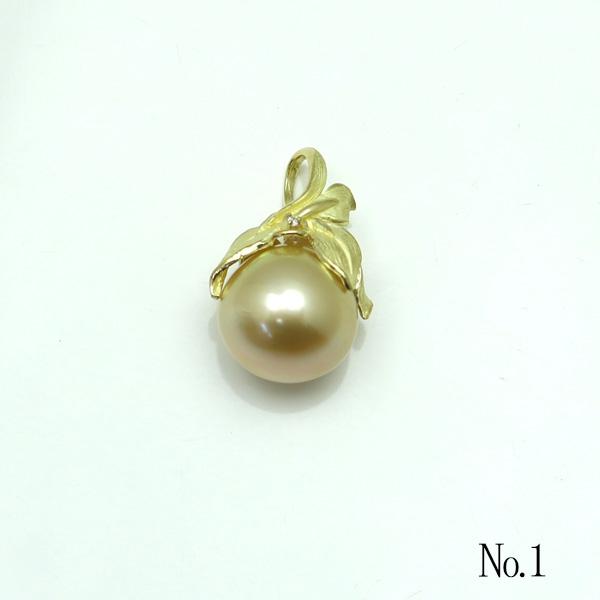 真珠 パール ペンダント 南洋白蝶真珠 パール ペンダント ナチュラル ゴールドカラー 13mm-14mm ダイヤ デザイン K18