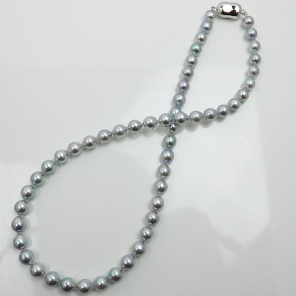 真珠 パール ネックレス あこや真珠 パールネックレス 7mm-7.5mm ナチュラル ブルーグレーカラー アコヤ本真珠 冠婚葬祭 葬儀 フォーマル