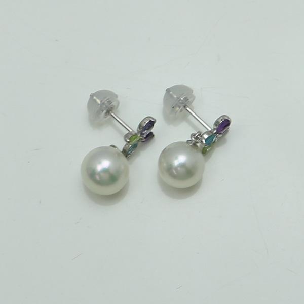 真珠 パール ピアス あこや真珠 パールピアス 7mm-7.5mm アコヤ本真珠 デザイン 揺れる 半貴石 ホワイトカラー