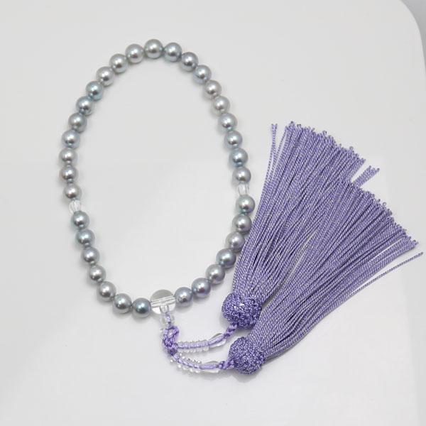 真珠 数珠 パール 念珠 あこや真珠 数珠 7.5mm-8mm ブルーグレーカラー 新色 紫房 アコヤ本真珠 冠婚葬祭 葬儀 葬式 法事
