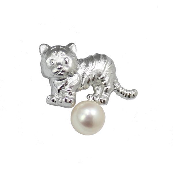 真珠 パール ブローチ あこや真珠 タイタック タイピン アコヤ真珠 動物シリーズ トラ パール 真珠 ムーンストーン