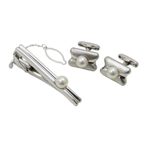 真珠 パール カフス セット あこや真珠 2点セット アコヤ真珠 7mm-7.5mm ホワイトピンクカラー
