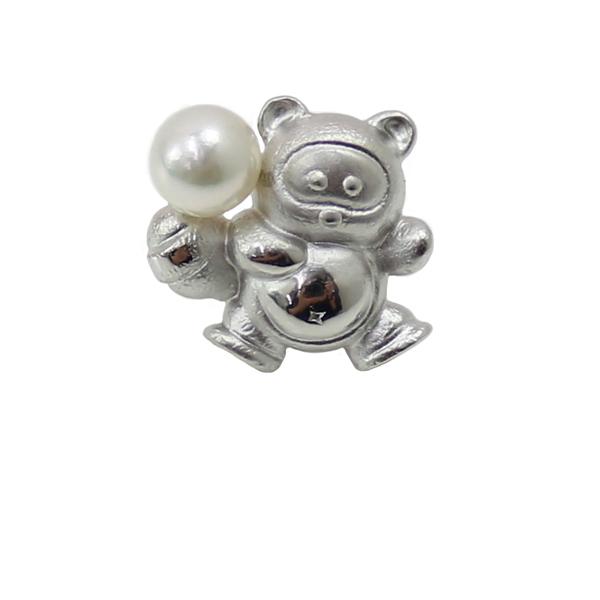 真珠 パール ブローチ あこや真珠 パール ブローチ タイピン アコヤ本真珠 7mm-7.5mm デザイン ホワイトピンクグリーンカラー 動物シリーズ タヌキ