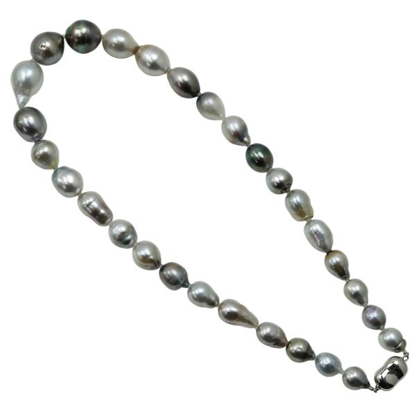 真珠 パール ネックレス 黒蝶真珠 パール ネックレス マルチカラー バロックパール 大粒