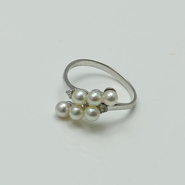 真珠 パール リング 指輪 あこや真珠 パールリング 指輪 アコヤ本真珠 3.5m-4mm 6pcs ベビーパール デザイン K18WG ダイヤ