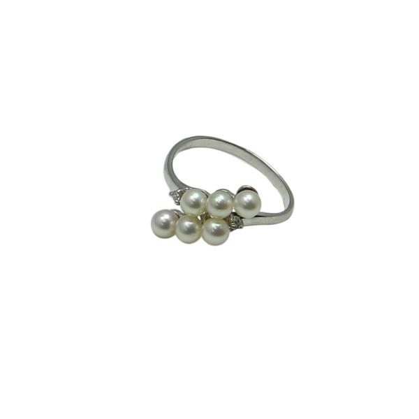 真珠 パール 指輪 リング あこや真珠 パールリング 指輪 アコヤ本真珠 3.5m-4mm 6pcs ベビーパール デザイン K18WG ダイヤ