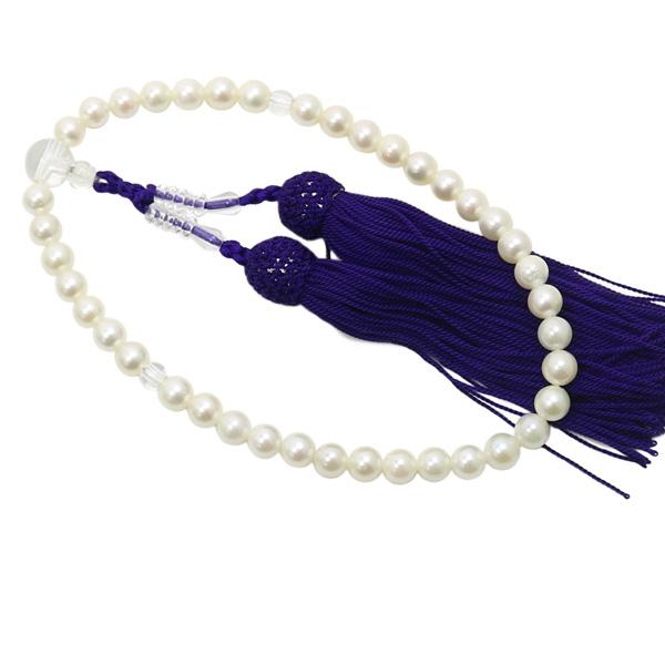 真珠 数珠 パール 念珠 あこや真珠 数珠 6.5mm-7mm ホワイトカラー 紫房 アコヤ本真珠 冠婚葬祭 葬儀