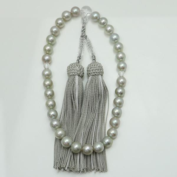 真珠 数珠 パール 念珠 あこや真珠 数珠 8.5mm-9mm グレーカラー 人絹グレー房 アコヤ本真珠 冠婚葬祭 葬儀
