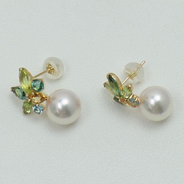 真珠 パール ピアス あこや真珠 パールピアス 8mm-8.5mm アコヤ本真珠 デザイン 半貴石 K18
