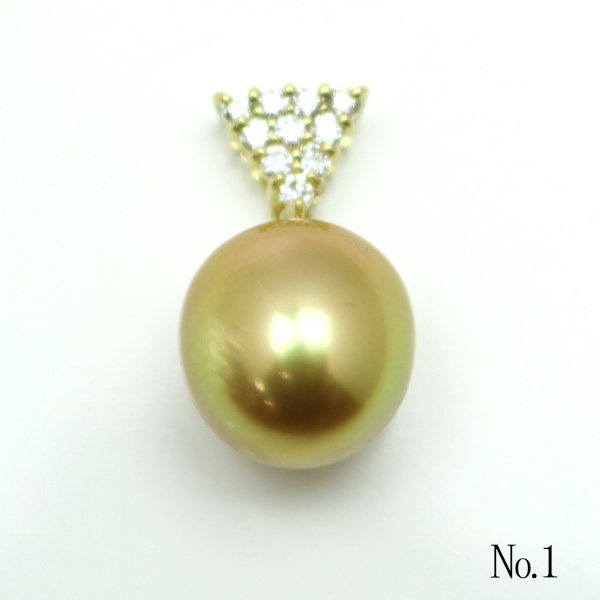 真珠 パール ペンダント 南洋白蝶真珠 パールペンダント 11mm-12mm ナチュラルゴールドカラー K18 ダイヤ
