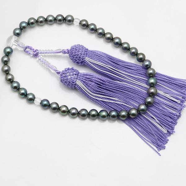真珠 数珠 あこや真珠 数珠 7mm-7.5mm 黒真珠 ブラックパール ブラックカラー アコヤ真珠 冠婚葬祭 葬儀人絹紫房