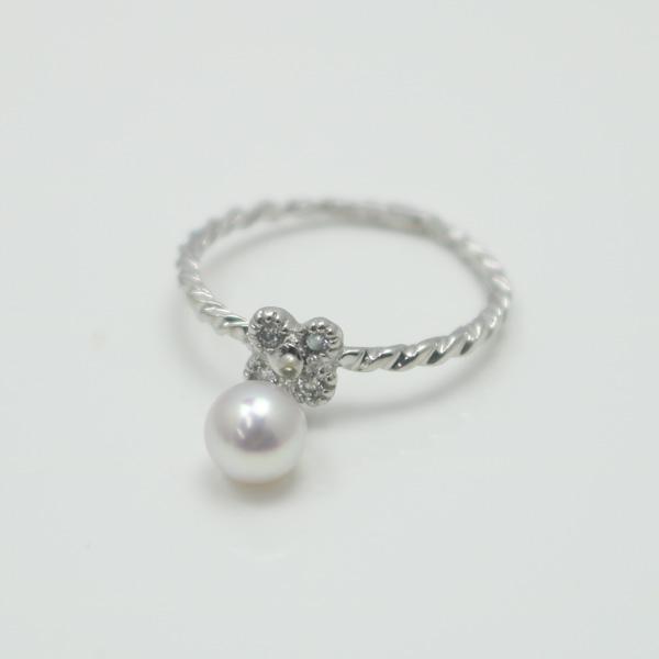 真珠 パール 指輪 リング アコヤ真珠 リング 指輪 あこや真珠 ベビーパール ピンキー リング K18WG あこや本真珠 ホワイトピンクカラー デザイン パール 真珠 ムーンストーン