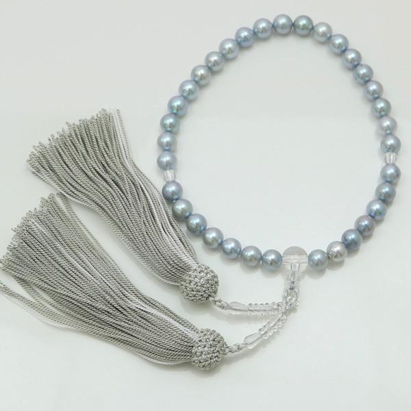 真珠 数珠 パール 念珠 あこや真珠 数珠 7.5mm-8mm ブルーグレーカラー 人絹グレー房 アコヤ本真珠 冠婚葬祭 葬儀