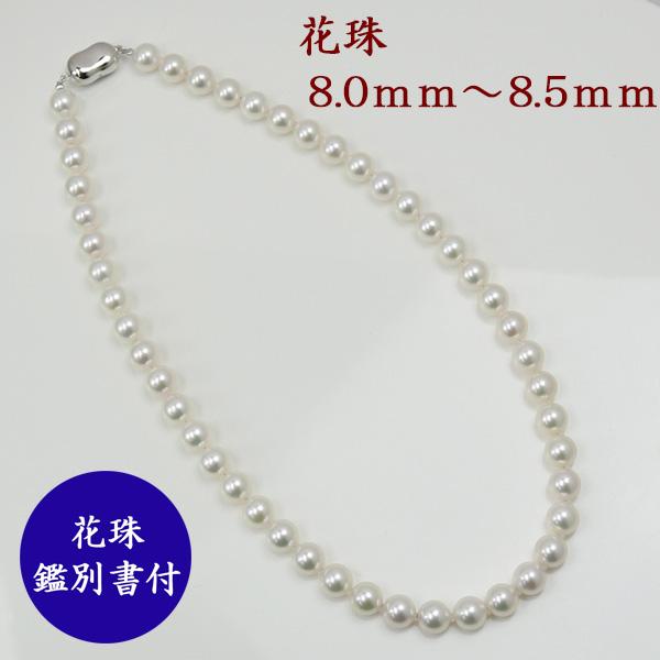 真珠 パール ネックレス あこや真珠 パール ネックレス セット 8mm-8.5mm オーロラ花珠真珠鑑別書