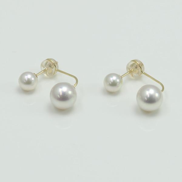 真珠 パール ピアス あこや真珠 パールピアス デザイン フープ K18 バックキャッチ 2ウェイ アコヤ本真珠